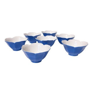 Mid-Century Blue Lotus Leaf Serving Bowls - Set of 7