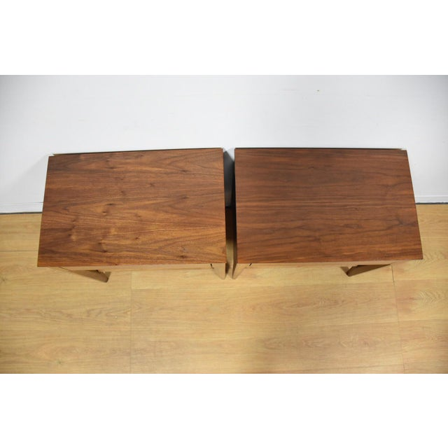 Image of Mid-Century Walnut Nightstands - A Pair