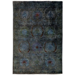 "Vibrance, Hand Knotted Black & Blue Floral Wool Area Rug - 4' 2"" X 6' 0"""