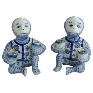Porcelain Monkey Candleholders