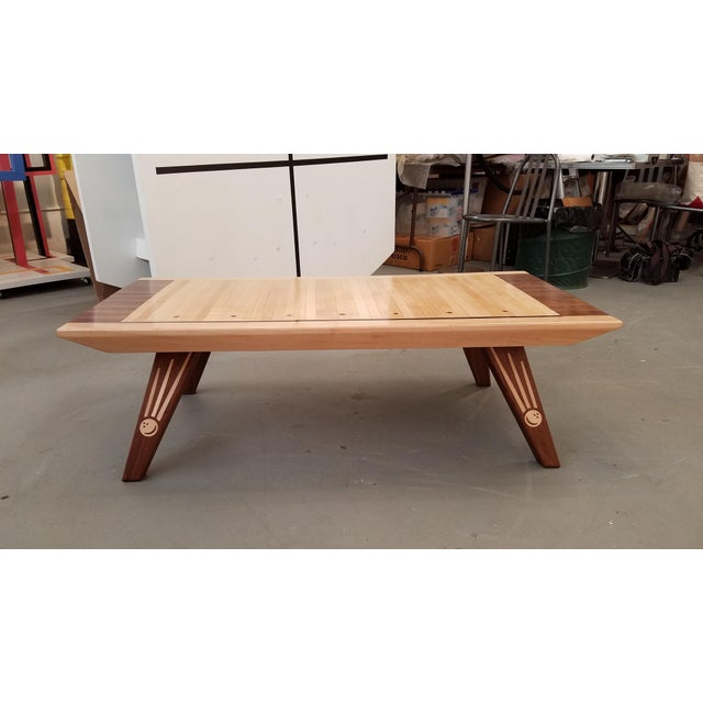 Reclaimed Wood Mid Century Coffee Table: Mid-Century Style Reclaimed Bowling Alley Walnut & Maple