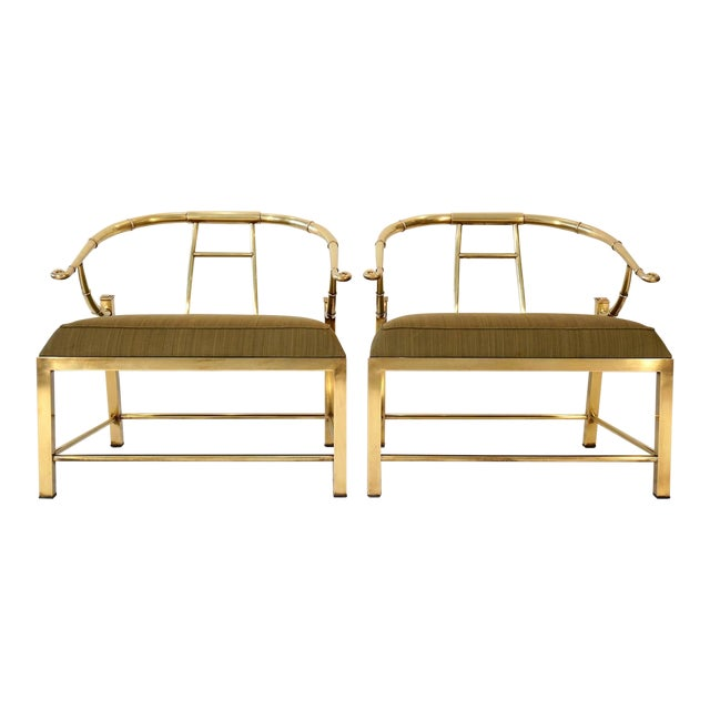 Pair of Brass Lounge Chairs by Mastercraft - Image 1 of 6