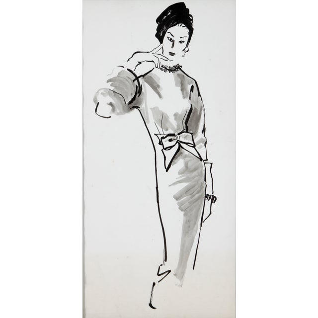 Mid-Century Fashion Ink Drawing - Image 3 of 5