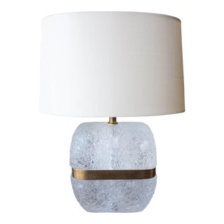 Do-Shaped Ice Carved Crystal Lamp with Brass Center