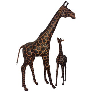 Lifesize Giraffes Each Made Of Painted Leather - A Pair