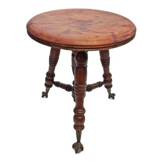 Victorian Carved Wood Piano Stool with Ball & Claw Feet