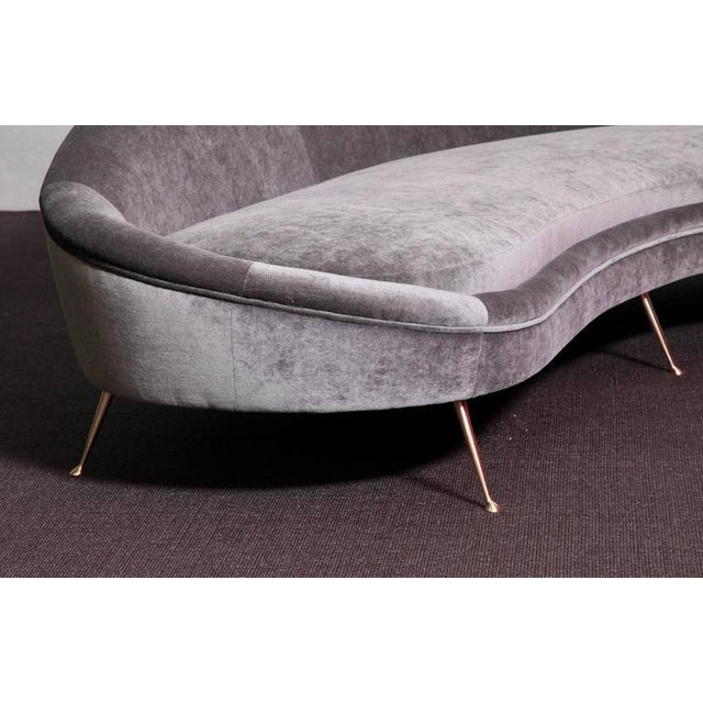 Huge Italian Velvet Sofa in the Manner of Ico Parisi - Image 2 of 7