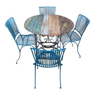 Reclaimed Wood Table & Metal Chairs