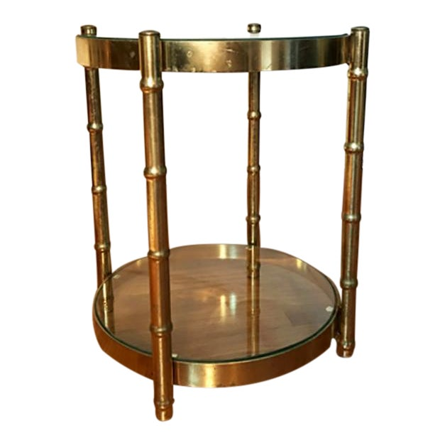 Two Tiered Brass And Glass Coffee Table: Two Tier Brass And Glass Round Faux Bamboo Accent Table