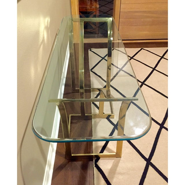Vintage 1970s Brass & Glass Console Table - Image 3 of 9