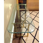 Image of Vintage 1970s Brass & Glass Console Table