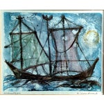 Image of Mid-Century Sailboat Monotype Prints - A Pair