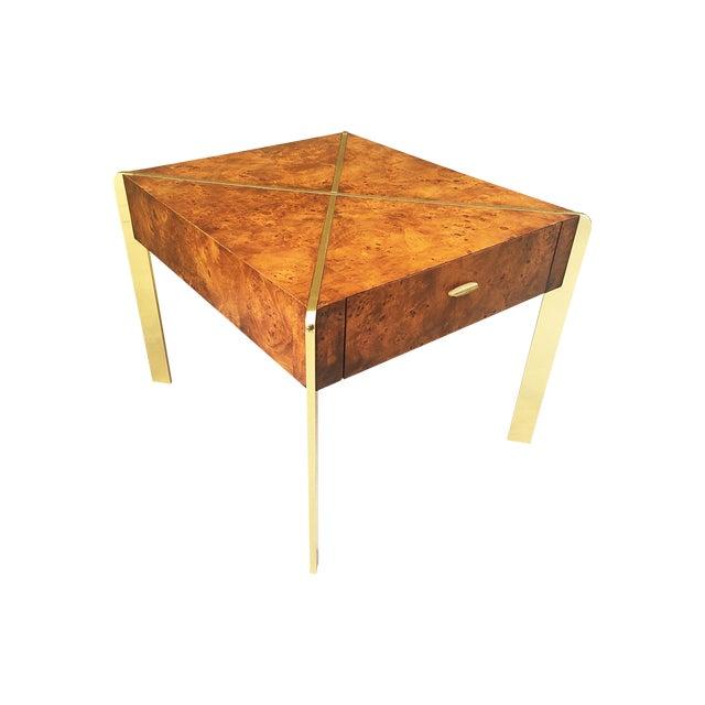 Milo Baughman Burlwood and Brass End Table - Image 1 of 9