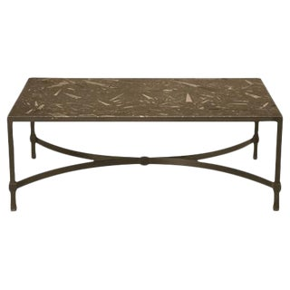 Vintage Fossil Stone Top Steel Cocktail Table