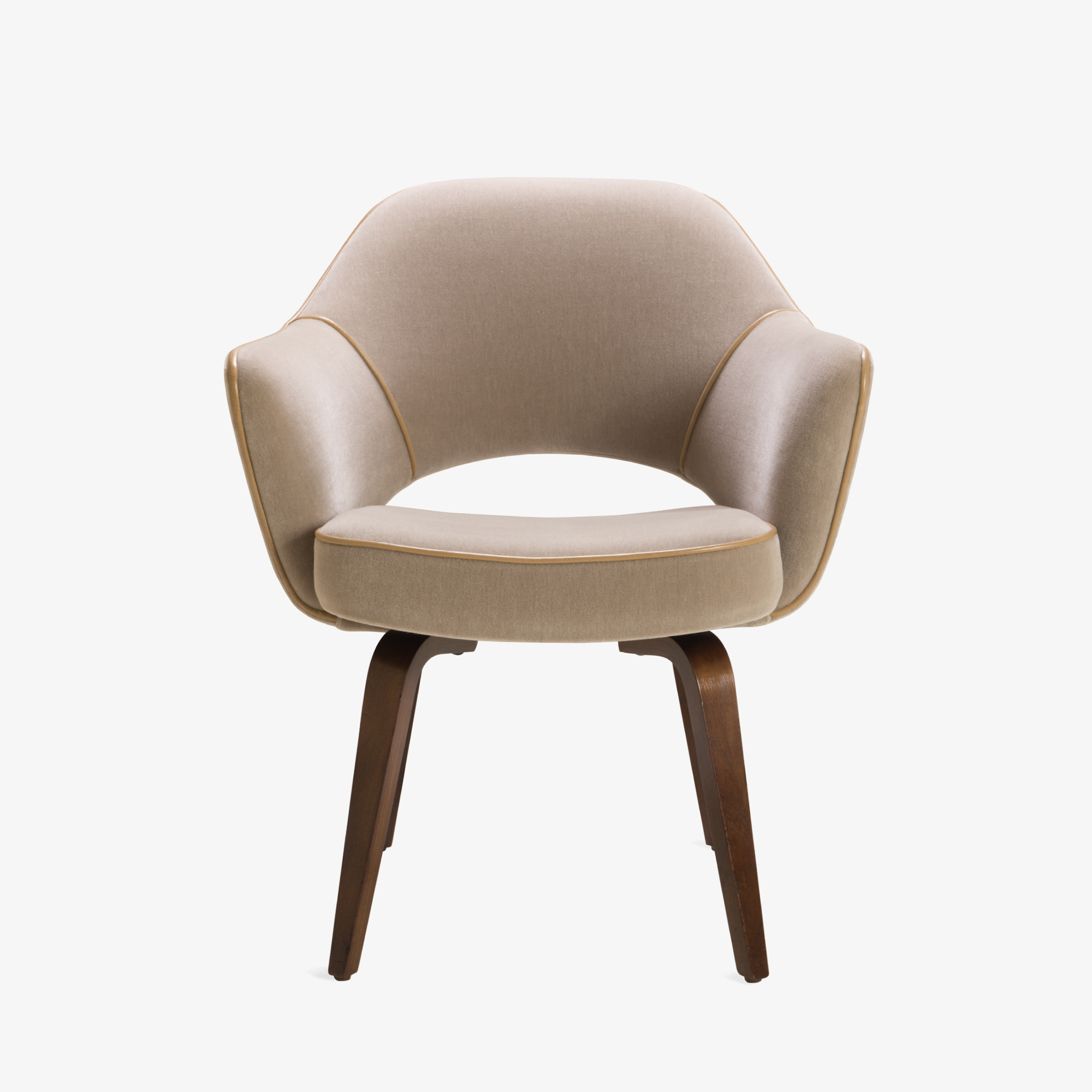 Saarinen Executive Arm Chair With Walnut Legs In Mohair And Leather Piping    Image 2 Of