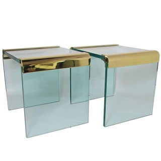 Leon Rosen 'Pace Collection' Brass and Glass End Tables - a Pair