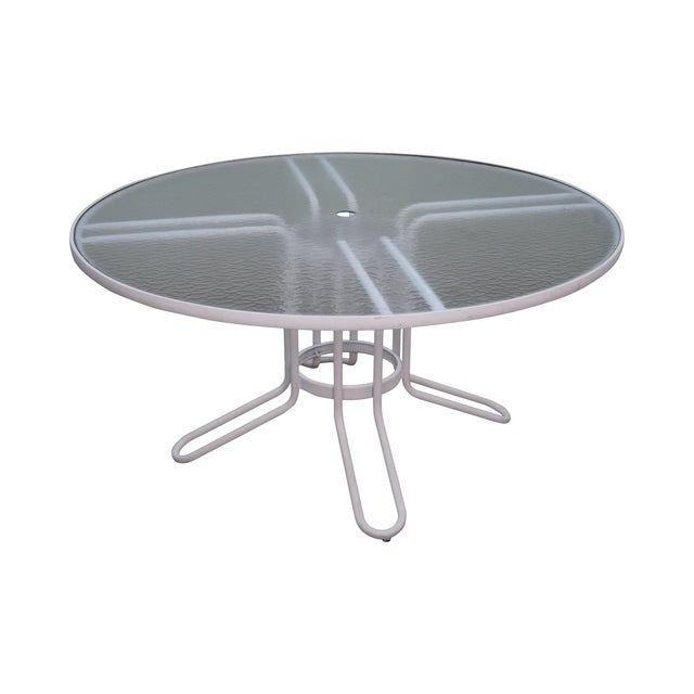Brown Jordan Aluminum Glass Top Patio Dining Table - Image 1 of 10