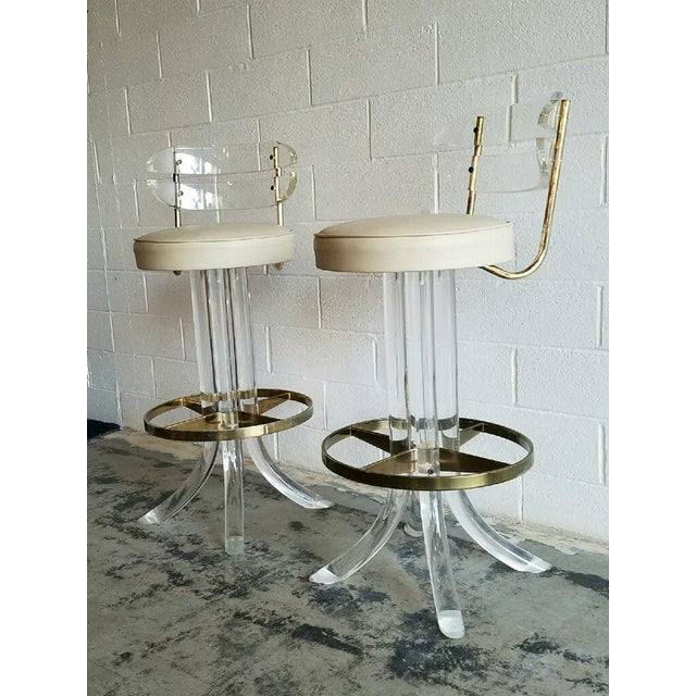 Vintage Lucite & Brass Barstools- A Pair - Image 4 of 6
