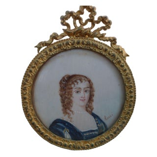 Miniature Portrait of a Young Lady Signed Rossi