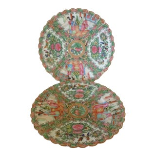 19th C. Rose Canton Plates - Set of 3