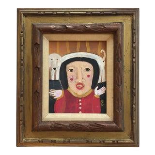 "Contemporary Folk Artist Rose Walton ""Dog on MyHead"" Painting"