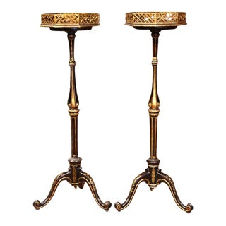 Tall Mid-20th Century French Painted With Gilt Pedestal Plant Stands - A Pair