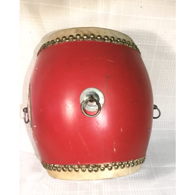 Vintage Red Lacquer Chinese Festival Drum - Image 3 of 5