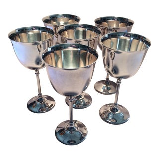 Italian Hollywood Regency Silverplate Water Goblets - Set of 6