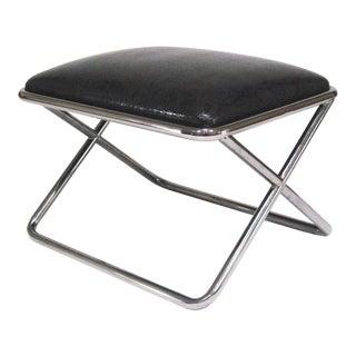Milo Baughman chrome and leather X-base stool