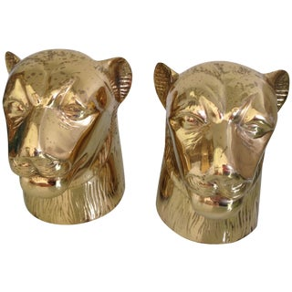 Brass Panther Bookends - A Pair