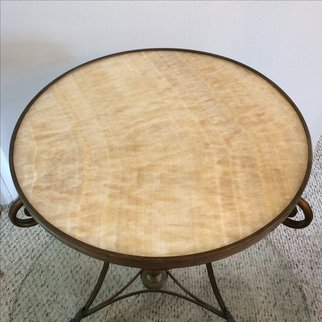 Gueridon Vintage Neoclassical Bronze & Onyx Table - Image 3 of 10