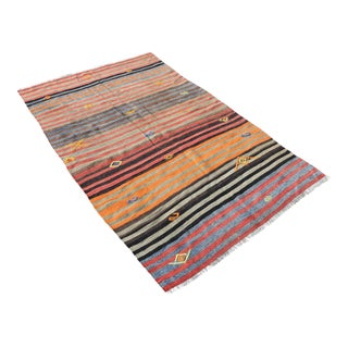 Vintage Multi-Color Hand Woven Kilim Carpet- 3′10″ × 6′5″
