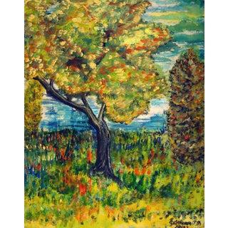 1962 Large Colorful Landscape Painting
