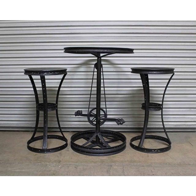 Glass Top Metal Bicycle Bar with Stools Set - Set of 3 - Image 3 of 5