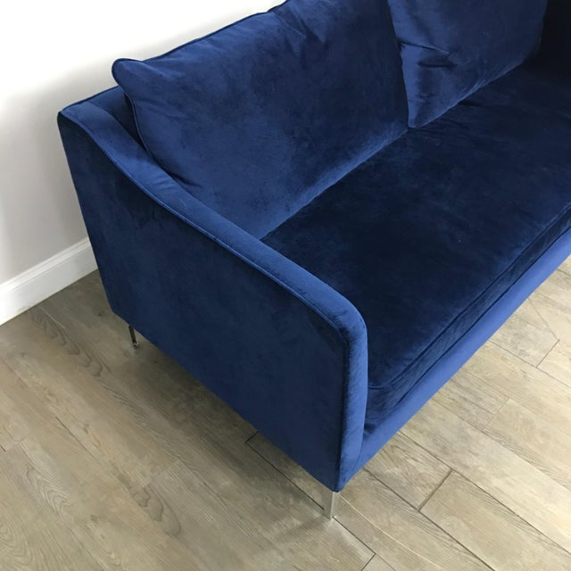 Royal Blue Velvet Sofa - Image 7 of 11