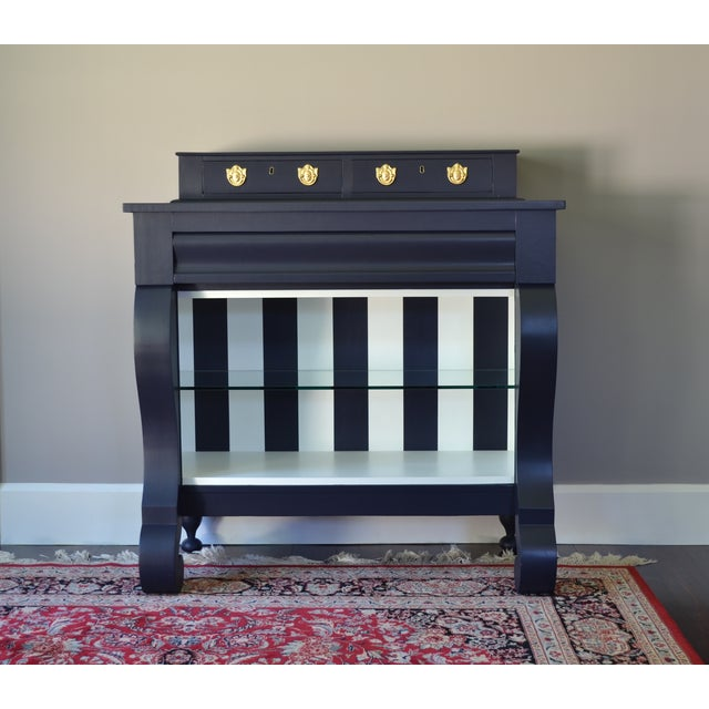 Antique Empire Buffet Bar in Navy Blue & White - Image 2 of 8