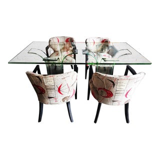 Modern Age Art Deco Glass Dining Table & Chairs - Set of 5