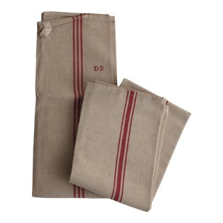Vintage French Monogramed Kitchen Towels - A Pair