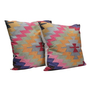 Diamond Kilim Print Pillows - A Pair