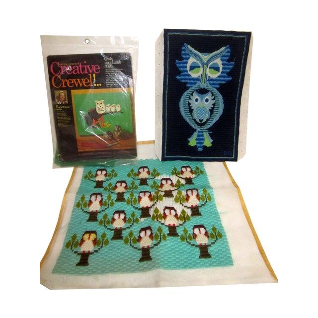 Owl Needlepoint Crewel Wall Pillows - Set of 3 - Image 1 of 5