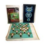 Image of Owl Needlepoint Crewel Wall Pillows - Set of 3