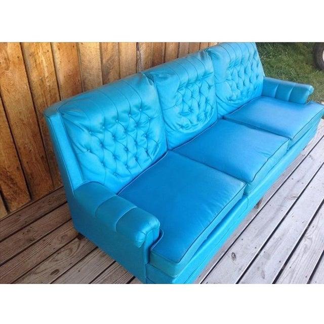 Mid-Century Modern Turquoise Sofa - Image 3 of 11