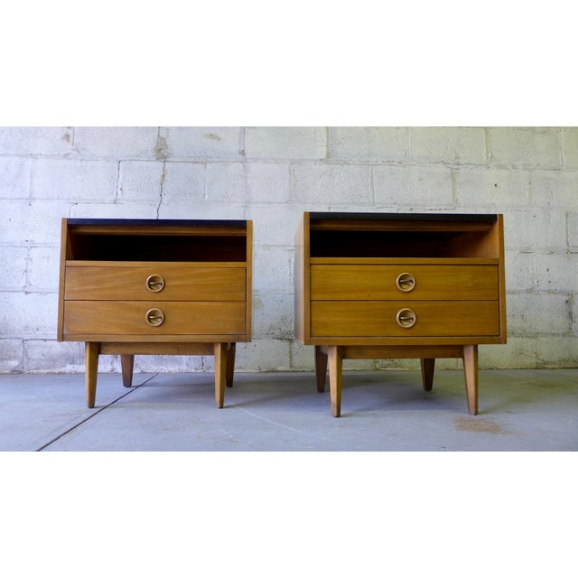 Image of American of Martinsville Mid-Century Walnut Nightstands - A Pair
