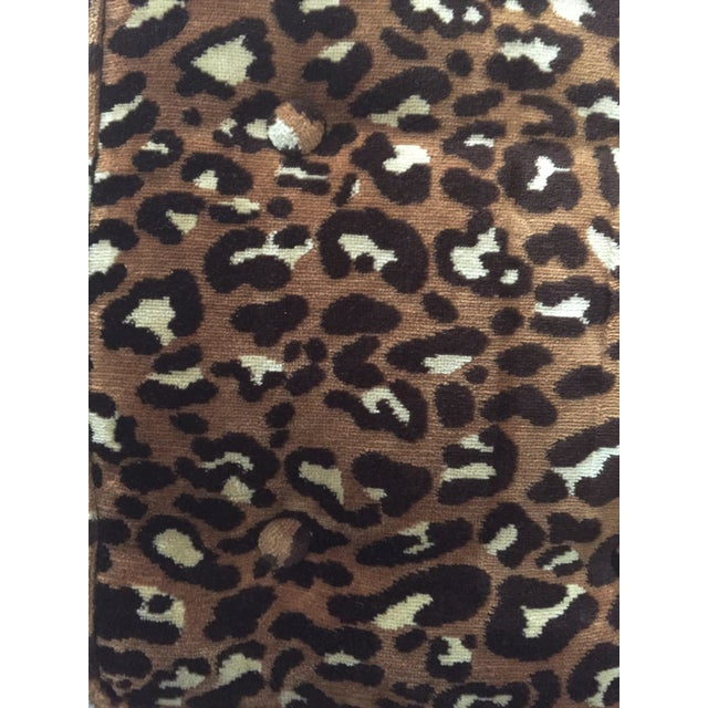 Leopard Upholstered Bench on Brass Casters - Image 7 of 8