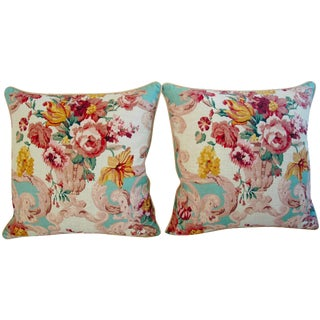 Designer Mulberry Floral Rococo Pillows - Pair