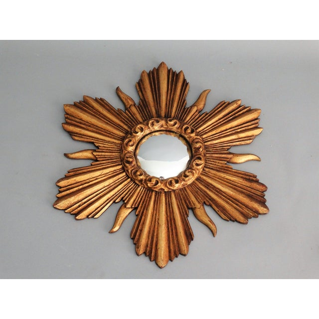 French Carved Gilt Wood Convex Sunburst Mirror - Image 4 of 7