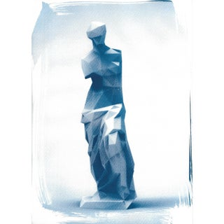 Venus de Milo Low-Poly Sculpture, Cyanotype Print on Watercolor Paper
