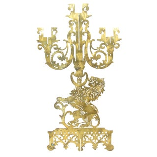 French Heraldry Brass w/ Lion Rampant