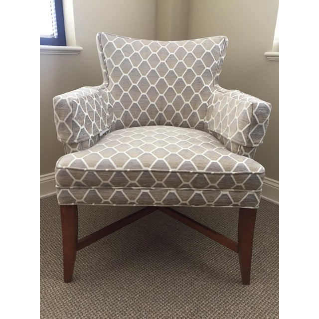 Pearson Gray Amp Beige Patterned Accent Chair Chairish