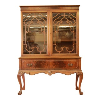 Antique French Chippendale Mahogany Cabinet